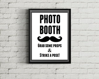Photo Booth Sign - Mustache Wedding, Party Photo Sign Instant Download