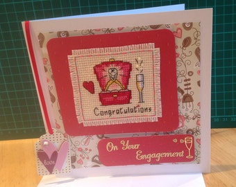 Completed engagement cross stitch card