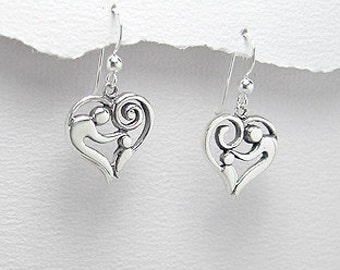 Sterling Silver Mother & Child Earrings Perfect for Birth of Child / Mother's Day