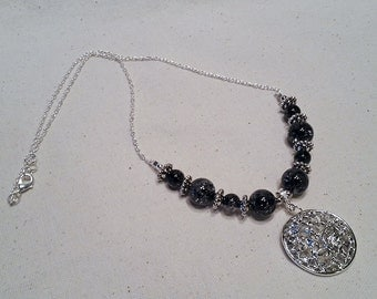 Unique silver pendent necklace with beads