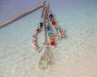 Glow in the dark mermaid hair stick, rainbow hair stick, beach party, mermaid hair stick, starfish hair stick,hair stick
