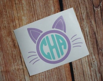 Custom Cat Monogram Decal