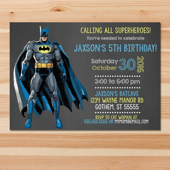 Batman Birthday Invite - Batman Chalkboard - Superhero Invitation - Batman Birthday Party - Batman Party Printables - Custom Invite