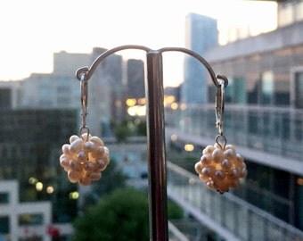 Pearl peach earrings, Pearl ball earrings, Pearl drop earrings, Bridesmaids gift