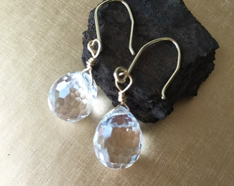 Swarovski tear drop crystal earrings. 14k gold filled. Free shipping within USA.