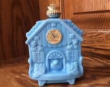 Vintage Avon Cuckoo Clock bottle blue milk glass