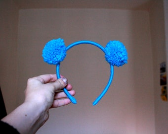 Mini blue Pom Pom headband