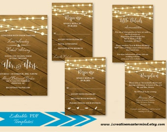 DIY Wedding Invitation Template, Rustic Invitation, Rustic Wedding, Mason Jar, Printable Invitation, Instant Download, Stringing Lights