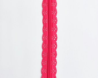 "Dark Pink Lace Zipper - 8"" Zipper - Pink Zipper - Zippers - Bag Notions - Purse Notions - Sewing Supplies - Bag Zipper - Zipper - YKK Zipper"