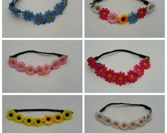 6 Daisy Headbands, Flower Daisy Headbands, EDC headband, Rave headband, Flower Child Headband.