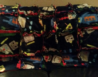 Rag Quilt, boys, robots, fleece