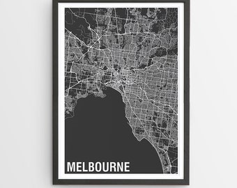 Melbourne City Map Print - Various Colours / Australia / City Print / Father's Day / Australian Maps / Giclee Print / Poster