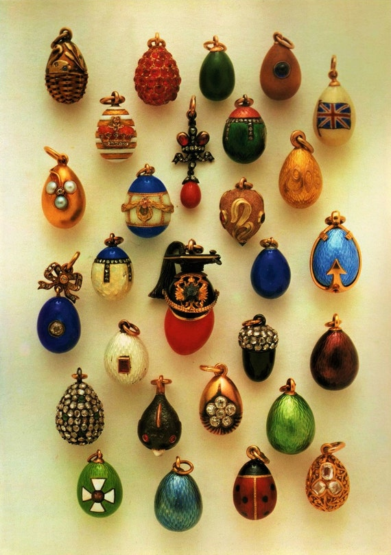 1970's Faberge Eggs Miniature Egg Collection Photo Image DD