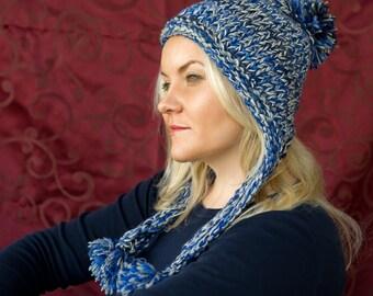 Women trapper hat; 100% wool hat; hand knitted hat;