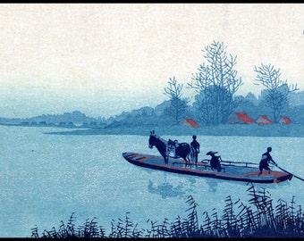 Blue Landscape Print - Boat Vintage Print - Japanese Art - Blue - Japanese Vintage - Woodblock - Ukiyo-e - Uehara Konen - Digital Print