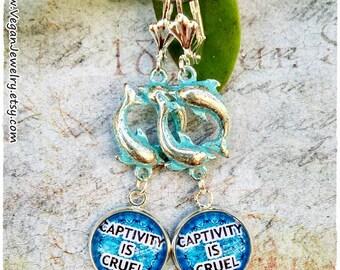 Vegan Earrings, Vegan jewelry, Vegan accesories, Vegan Gift, Dauphin earrings, Captivity is cruel, Cruelty free, vegetarian, veggie, veg
