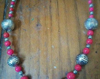 Modern Silver and Red Necklace