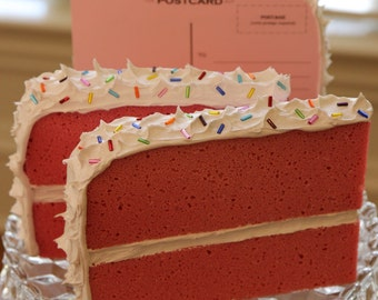 Pink Postcard Cake with White Frosting