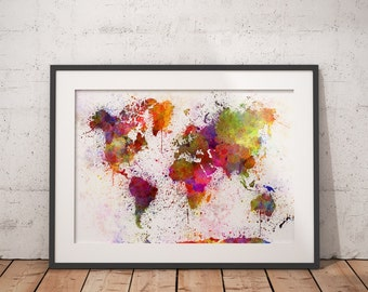 Large World Map Poster, World Map Print, World Map Wall Art, Watercolor World Map