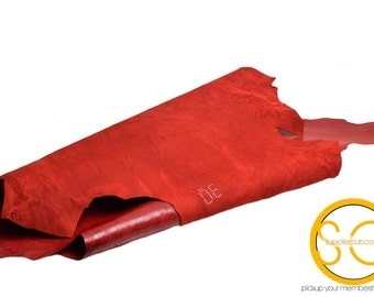 Genuine Leather Hide, Distress Red, 3 Square feet Lamb Leather Hides, (L002)
