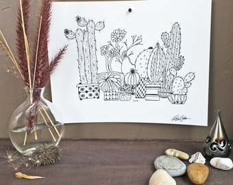 OUCH - Hand Drawn, Pen and Ink, Art Print, illustration, Wall art, Kids Room Art