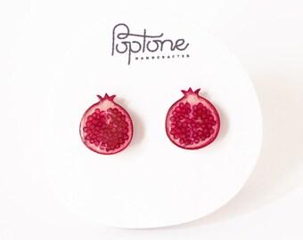 Pomegranate Earrings, pomegranate jewelry, fruit earrings, Rosh Hashanah earrings