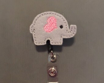 I HEART Elephants Cute Elephant Badge Reel