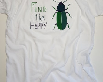 Find The Happy Beetle T-shirt// American Apparel 8yr // Kids T-shirt //White T-shirt // Children's clothing