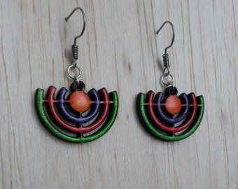 Wood Chandelier colorful earrings
