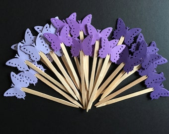 24 Purple Butterfly Cupcake Toppers, Butterfly Cake Topper, Butterfly Baby Shower, Butterfly decoration, Butterfly party decoration, Bridal