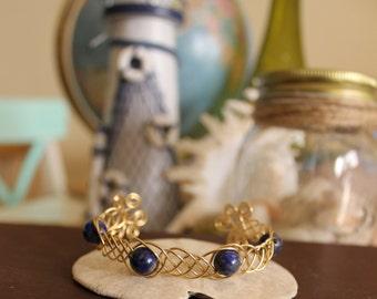 Lapis Lazuli Brass Plated Celtic Braid Cuff Bracelet