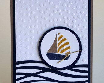 Handmade Sailboat Nautical Father's Day card, waves, masculine, navy blue and brown, thank you, any occasion card