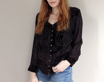 Vintage Chocolate Brown Embroidered Crushed Velvet with Sheer Sleeves Indian Blouse - S/M