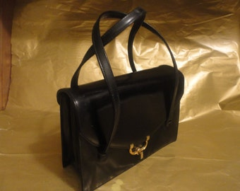 Vintage Black Handbag Made In France