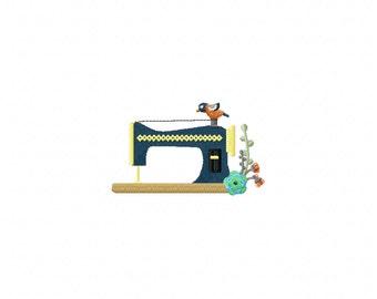 Mini sewing machine bird embroidery design, sewing machine embroidery design, bird embroidery design, sewing embroidery design