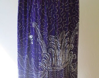 1980s vintage purple and silver sparkle beaded skirt L