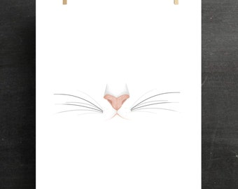 Cat Print Animal Print Cat's Nose Whiskers Gift for Her Minimalism Girl Cute Girly Print Bedroom Decor Poster Canvas Wall Art