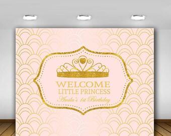 Pink and Gold, Royal Princess Backdrop, Birthday Sign, Princess Backdrop, Crown, Tiara, Printables, Personalized, Princess Party , DIY