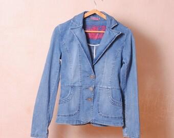 Hippy jacket chic size 8 jeans vintage blue jean/denim wear blazer Jacket Women 's/hippie blazer medium size 38