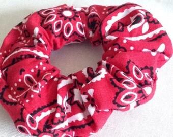 Red Bandana Scrunchie