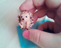 Hedgehog figurine polymer clay Sculpture hedgehog Miniature toy house decor OOAK hedgehog toy