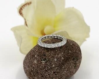 Diamond Eternity Wedding Band.Diamond Full Eternity Band. 1.50Ct. 100% Natural Diamond Band.14k Solid White Gold Ring. Diamond Wedding Ring.