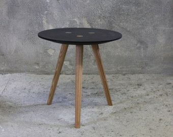 small ida - side table, occasional table, stool - black ~ old wood