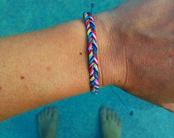 Waterproof Fishtail Braid, Wax Cord Friendship Bracelet, Rainbow Surfer Bracelet, Stacking Boho Beach Bracelet, Adjustable Bracelet