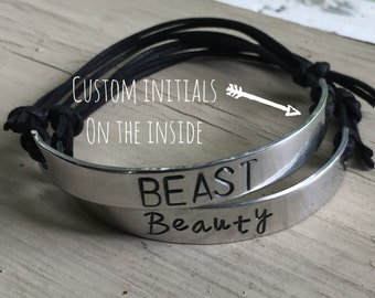 Couples Bracelets His Hers - Silver - Couples Bracelets - Custom Initials Beauty and Beast