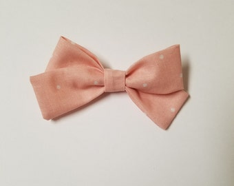 Classic Fabric Bow- Pink w/ White dots