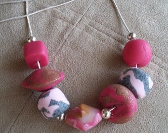 Pink Granite and Rose Necklace