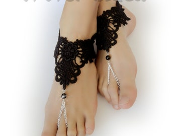 Lace Chain Barefoot Sandals. Black Foot Jewelry. Black Beads. Silver Chain Boho Anklets. Beach Wedding. Bridal Accessory. Set of 2