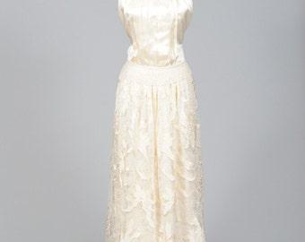 1970 Vanilla Silk Vintage Wedding Gown