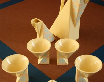 Memphis era Salins Studio coffee set / 1980s Art Deco / Ettore Sottsass style